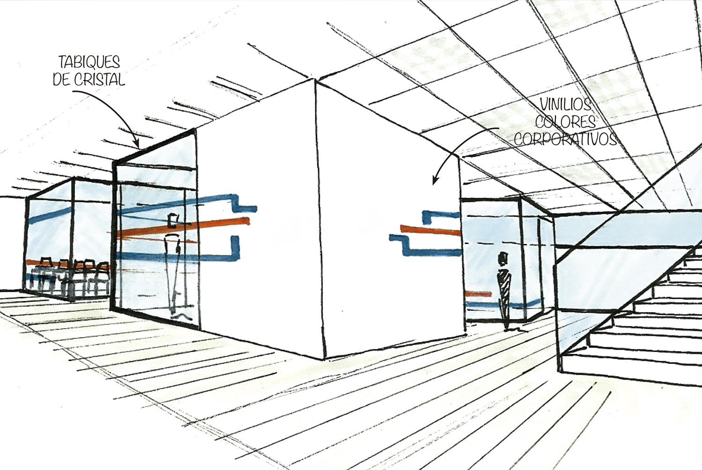 Boceto de proyecto de diseño comercial con arquitectura y dirección de proyectos en Valencia - Grupo Remodela
